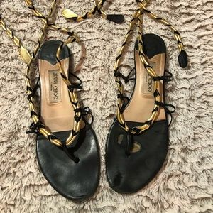 jimmy choo size 39 black and gold wrap sandal
